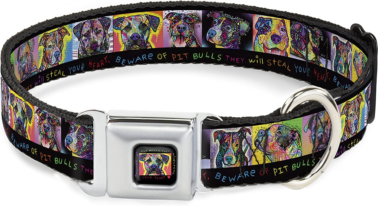 BuckleDown DcWal002Wm They Will Steal Your Heart Dog Collar, WideMedium, Black Multi color