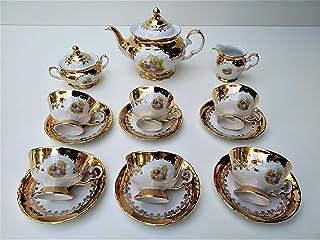 Juego de té para 6 personas hecho en italy estampado 24k oro romeo & juliette