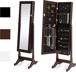 Best Choice Products Full Length Tilting Mirrored Cabinet Jewelry Armoire with Velvet Lined Interior, 6 Shelves, Stand Rings, Necklaces Hooks, Bracelet Rod, Cubbies, Lock and Key, Brown