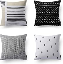 Phantoscope Decorative Set of 4 100% Cotton Black and White Geometric Throw Pillow Case Cushion Cover 18 x 18 inches 45 x 45 cm