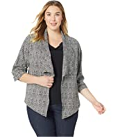 Plus Size Shirred Sleeve Jacket