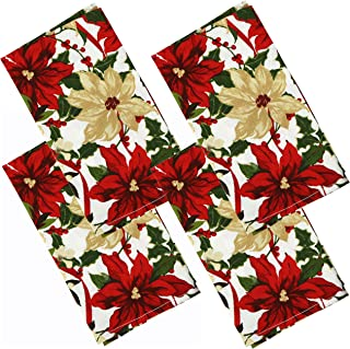 Iconikal 17 x 17-Inch Printed Cloth Dinner Napkin, Poinsettia, 4 Pack