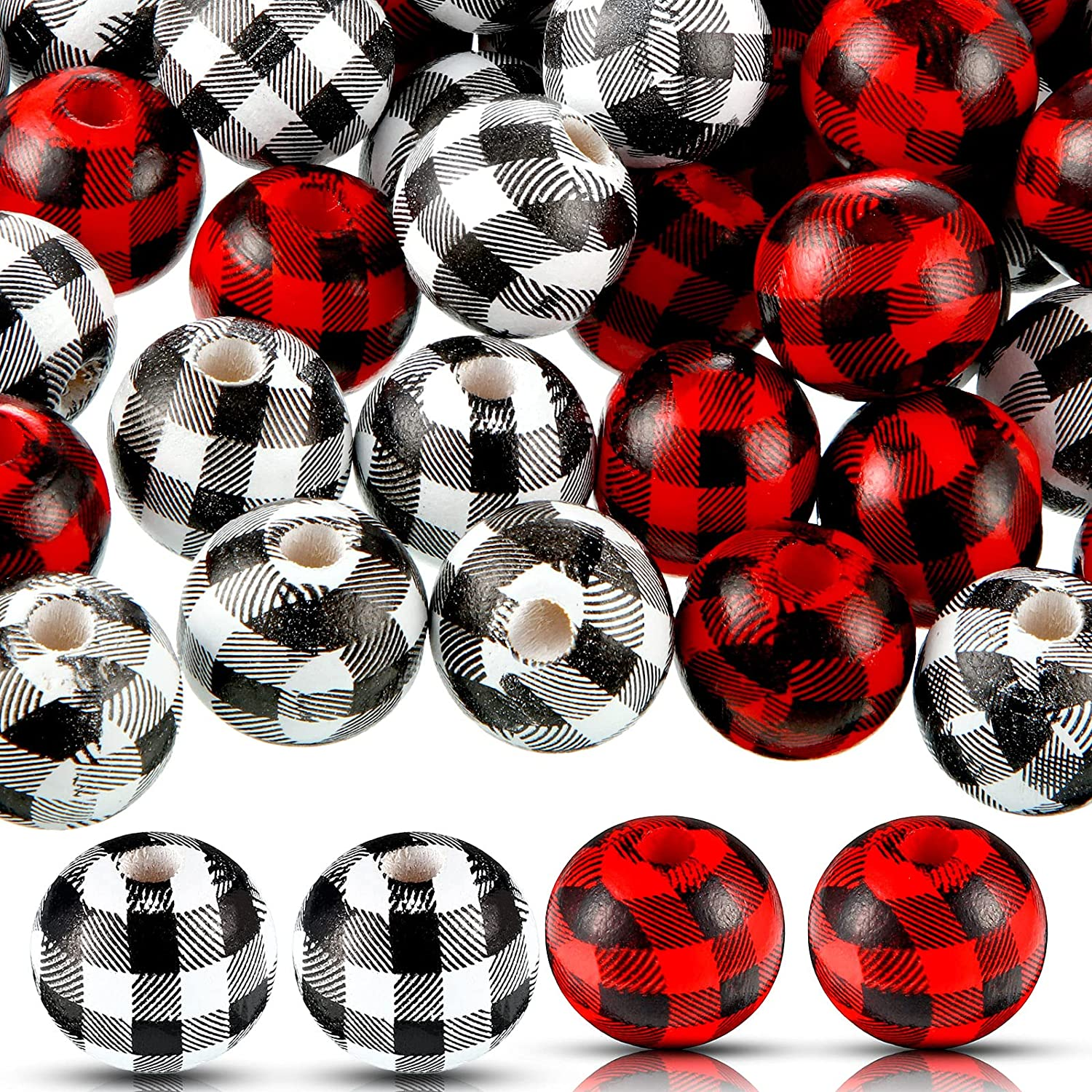 100 Pieces Plaid Wood Beads Wooden Rus Max 84% OFF Ranking TOP12 Buffalo Print