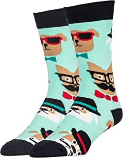 Oooh Yeah Men's Crew Funny Novelty Socks Dapper Dogs
