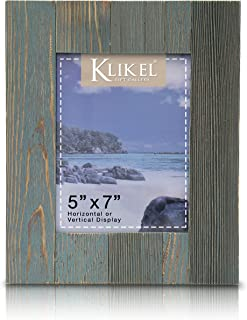 Klikel Distressed Wood 5 X 7 Picture Frame - Blue Solid Wooden Wall Hanging and Table Standing Photo Frame