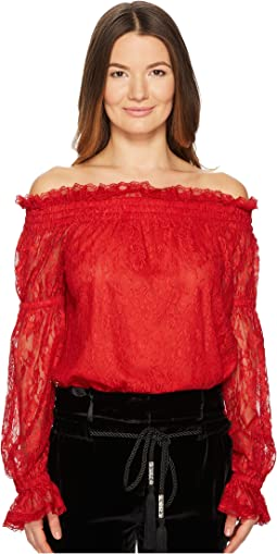 Lace Top with Bare Shoulders