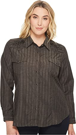 Roper - Plus Size 1196 Tone On Tone Dobby - Charcoal