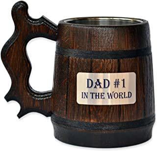 Handmade Dad #1 - Wood Beer - Mug NON-PERSONALIZED 0.6L 20oz Natural Stainless Steel - Cup Men - Eco-Friendly Wooden Tankard Souvenir Retro Brown