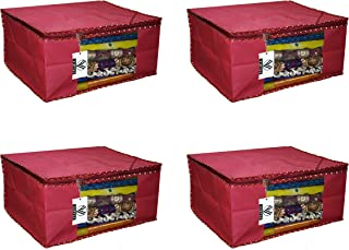 """Virtue Saree Cover Storage Bag Big for Clothes with Zip Organizer for Wardrobe, Set of 4, Non Woven Fabric Cloth 9"""" Height..."""