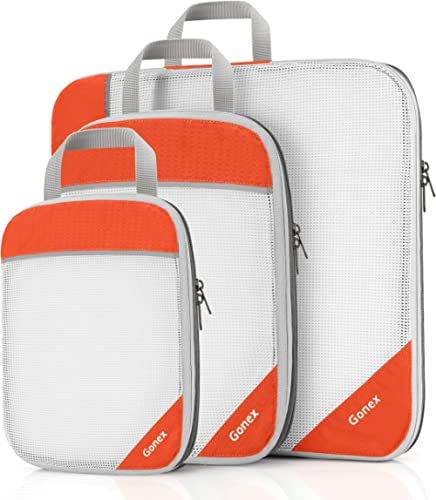 Gonex Packing Cubes, Travel Packing Organizers Compression Pouches L+M+S Tangerine