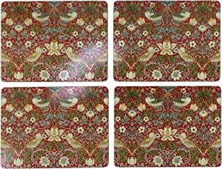 SET OF 4 STRAWBERRY THIEF RED CORK BACKED LARGE PLACEMATS 40X30X0.6CM - 16X12X0.25
