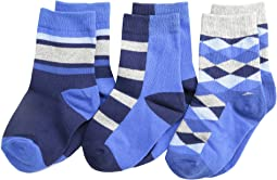 Jefferies Socks Argyle Stripe Crew Socks 3 Pack (Toddler/Little Kid/Big Kid)
