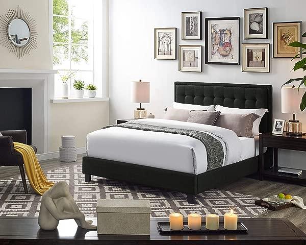 Infini Furnishings IND3041QJB Sylas Queen Upholstered Bed Platform Ash Black