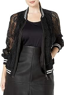 Alfani Plus Size Faux-Leather-Trim Zip-Front Boucle Jacket 0X Blue