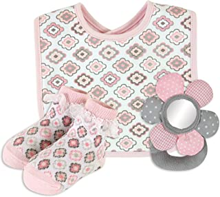 Stephan Baby Bib, Lace-Trimmed Socks and Mirrored Plush Ring Rattle Gift Set, Diamond Flower, 6-12 Months