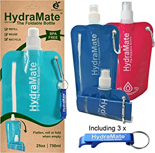 HydraMate COLLAPSIBLE BOTTLE. BPA Free. Foldable Water Bottle 25oz/750ml Lightweight, Soft, Squeezable, Eco-Friendly Folding Bottle. Sports Cap, Hygienic Lid. Refillable. Carabiner Clip. FREE keyring