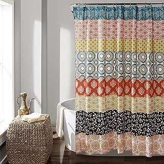 Lush Decor Bohemian Striped Shower Curtain Colorful Bold Design, 72