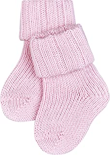 FALKE Socken Flausch Baumwolle Schurwolle Baby rosa grau viele weitere Farben kurze Babysocken ohne Motiv dick gerippt und warm 1 Paar