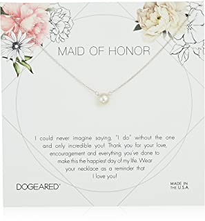 Maid of Honor Flower Card Small Button White Pearl Chain Necklace, 16