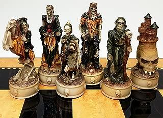 Skeleton Slayer Fantasy Gothic Skull Chess Men Set - NO BOARD