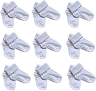 White Baby Socks - 9 PAIRS Koala Kids Basics Non-Skid Triple Cuff Socks 12-24 months 9 PAIRS