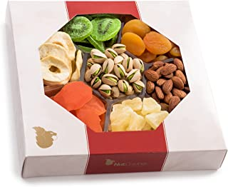 Gourmet Gift Basket, Nut & Dried Fruit Assortment Tray (7 Mix) - Edible Care Package Set, Birthday Party Food Arrangement Platter - Healthy Snack Box for Families, Women, Men, Adults - Prime Delivery
