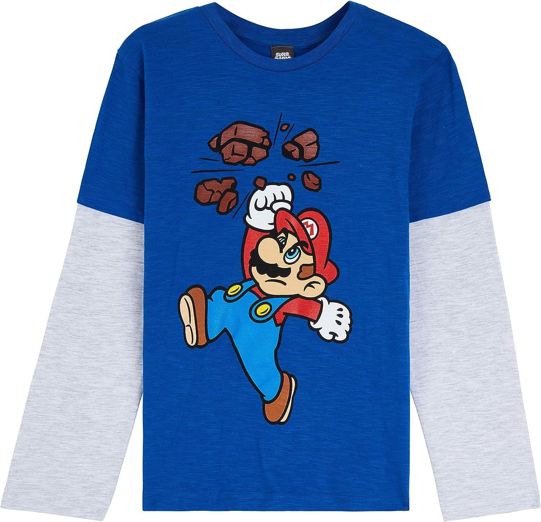 Super Mario Camiseta Niño, Camisetas de Manga Larga Azul y Roja con Mario Bros, Ropa para Niño de Algodon, Regalos para Niños y Adolescentes 3-13 Años
