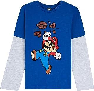 Super Mario Camiseta Niño, Camisetas de Manga Larga Azul y Roja con Mario Bros, Ropa para Niño de Algodon, Regalos para Ni...