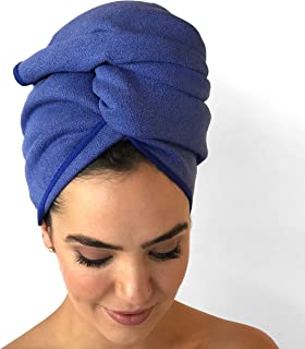 BeeDry Microfiber Hair Towel by Beauty Bee - Luxurious MicroCrepe Fabric - Stays Put While Wearing - Super Absorbent - Lightweight - Hang Loop - XL Size 22