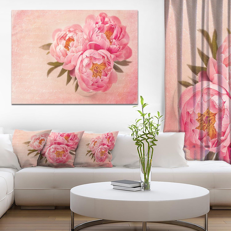 Designart Peony Flowers Against Scribbled Back Canvas Artwork Print, 12  H x 20  W x 1  D 1P, Pink
