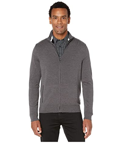 Calvin Klein Merino Full Zip Sweater (Steel Gray Heather) Men