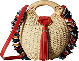 Sam Edelman Mariana Straw Basket w/ Frayed Fabric Detail