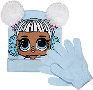 L.O.L. Surprise! Light Blue Jacquard Knit Pom Pom Beanie Hat & Magic Glove Set 2 Pieces Winter Accessories Set for Girls