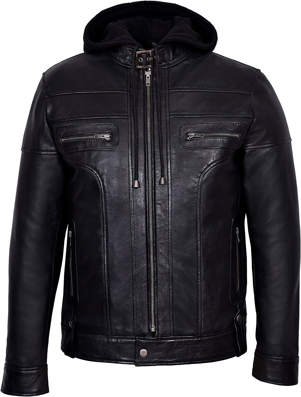 Clark Mens Black Hooded Casual Stylish Designer Bikers Real Soft Leather Jacket 8344