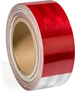 "2"" X 50 ft Reflective Safety Tape DOT Approved Red White For Trailers 2 Inch - Reflector Tape High Intensity Grade Trailer..."