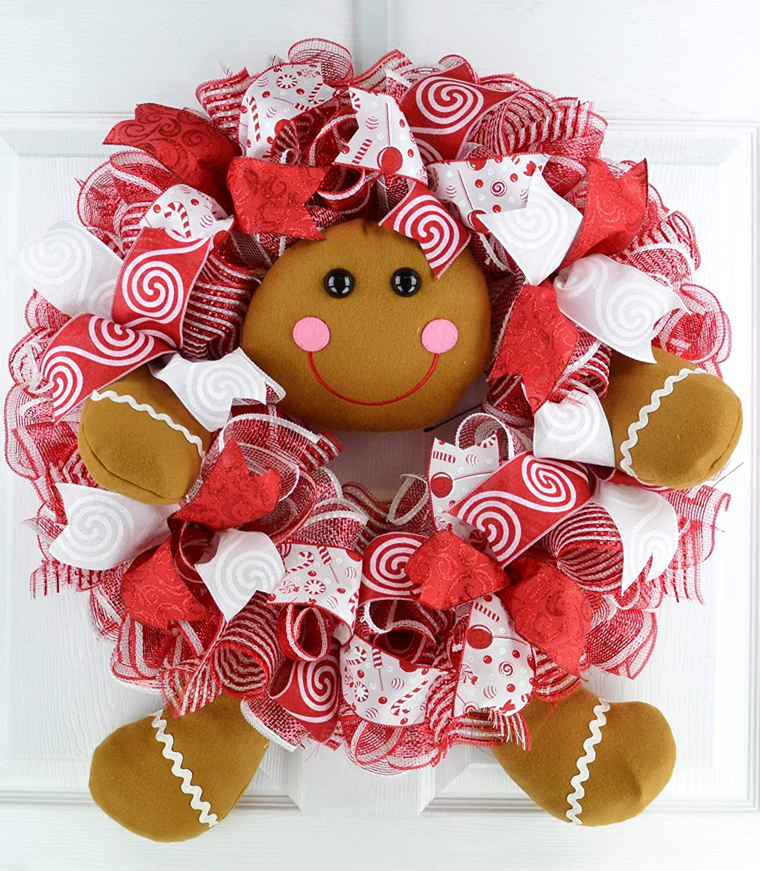 Gingerbread Wreath Cheap Outdoor Christmas Mesh Rapid rise Front Door