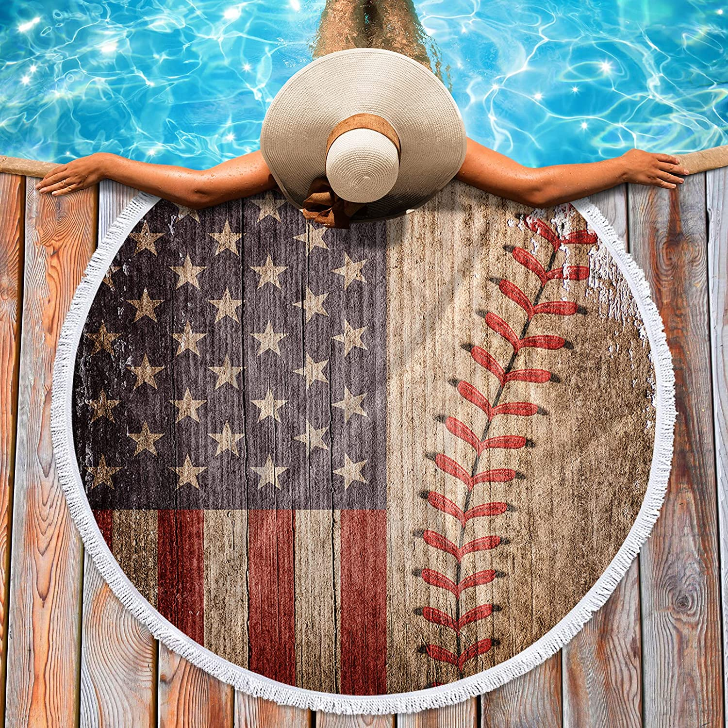 Krisyeol Soft Round Beach Towel American Max 83% OFF with Blanket F Max 69% OFF Baseball
