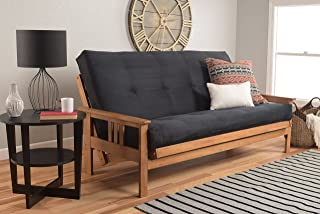 Kodiak Furniture Monterey Futon Set with Butternut Finish, Full, Suede Black