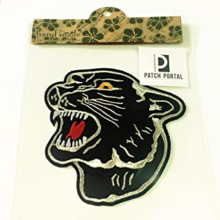 Patch Portal Black Panther Emblem 4.5 Inches Embroidery Patch DIY Decorative Animal Wild Life Tiger Fashion Show Souvenir ...