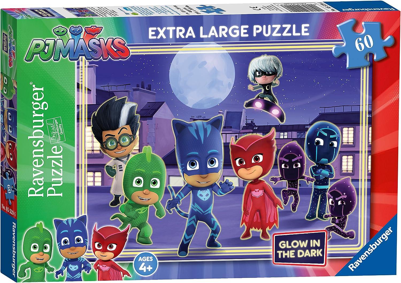 Ravensburger PJ Masks Glow in The Dark-Puzzle Gigante de 60 Piezas para niños a Partir de 4 años, 2 x-Grande (5529)
