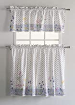 Maison d' Hermine Faïence 100% Cotton Kitchen Curtain Sets - 2 Tiers (28 inch by 36 inch) and 1 Valance (56 Inch by 18 Inch)