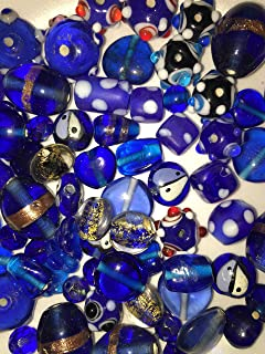 100 Grams Or 40-50 Pieces Of Cobalt Blue Lamp Work & Assorted Mixed Beads Crystal, Dichroic, Hand Painted & Glass 8mm-20mm By Cocoas Beads