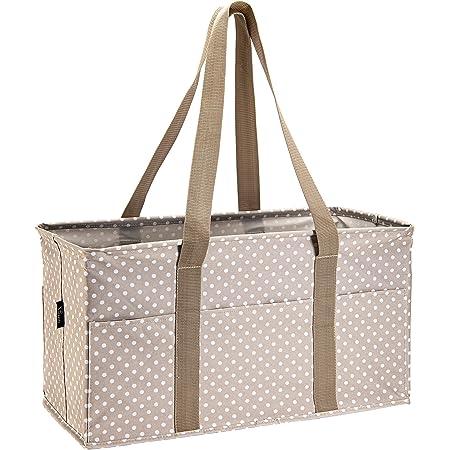 16 PocKeT CANVAS BLEND BAG ORGANIZER UTILITY TOTE SMALL CHEVRON Fuchsia//White