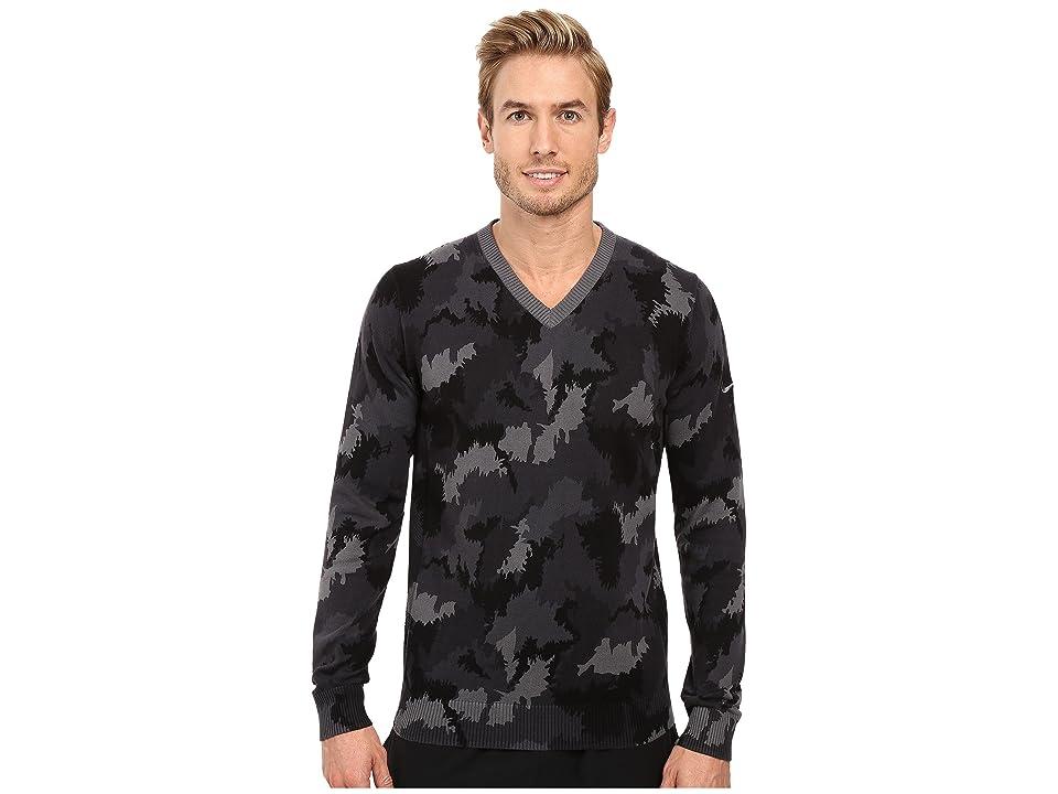 Nike Golf Range Camo V-Neck Sweater (Dark Grey Heather/Dark Grey) Men