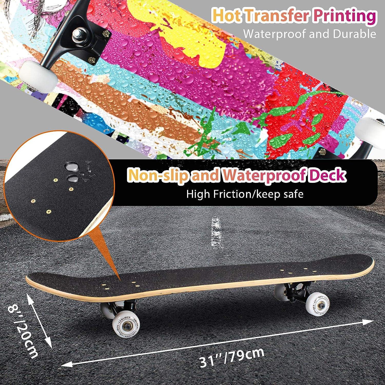 ANDRIMAX Skateboards-Complete Skateboards for Beginners Kids Boys Girls Adults Youth-Standard Skateboards 31/'/'x8/'/' with 7 Lays Maple Deck Pro Skateboards Longboard Skate Boards