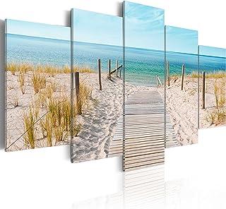murando Quadro acustico Mare Spiaggia 225x112 cm 5 pezzi Quadri Moderni su Tela non Tessuta Stampa Protezione dai Rumori I...