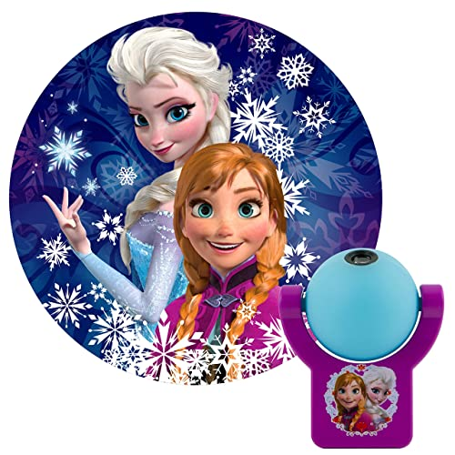 Projectables Frozen LED Night Light, Plug-in, Dusk-to-Dawn, UL Listed, Image of Anna and Elsa on Ceiling, Wall, or Floor, Ideal for Bedroom, Nursery, Bathroom, 13340, 1