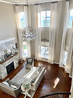 """Ikiriska Extra Long Luxury Solid Linen Curtain with Grommet top Custom Made 12 13 14 15 16 17 18 20 24 ft 2 Story (Off White, 50"""" Wx288 L)"""
