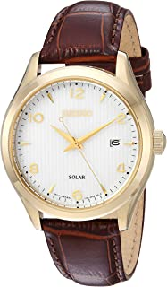 Mens Dress Stainless Steel Japanese-Quartz Watch with Leather Calfskin Strap, Brown, 20.5 (Model: SNE492)