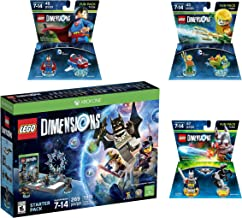 Lego Dimensions DC Comics Super Heroes Starter Pack + Superman + Batman + Aquaman Fun Packs for Xbox One or Xbox One S Console